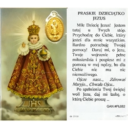 Infant of Prague  - Polish - Praskie Dzieciatko Jezus - Holy Card Plastic Coated. Picture is on the front, Polish text is on the back of the card.