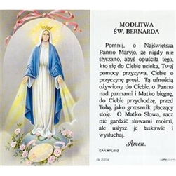 Saint Bernard - Polish - Modlitwa Sw. Bernarda  - Holy Card Plastic Coated. Picture is on the front, Polish text is on the back of the card.