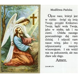 Lord's Prayer  - Polish - Modlitwa Panska - Holy Card Plastic Coated. Picture is on the front, Polish text is on the back of the card.