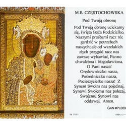 Our Lady of Czestochowa - Polish - M. B. Czestochowska - Holy Card Plastic Coated. Picture is on the front, Polish text is on the back of the card.