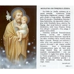 Saint Joseph - Polish - Sw.  Jozefa - Holy Card Plastic Coated. Picture is on the front, Polish text is on the back of the card.