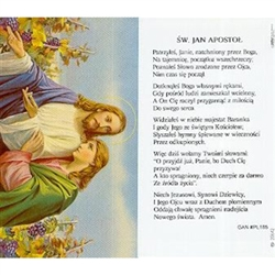 Saint John the Apostle - Polish - Sw. Jan Apostol - Holy Card Plastic Coated. Picture is on the front, Polish text is on the back of the card.