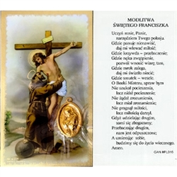 Saint Francis - Polish - Sw. Franciszka - Holy Card Plastic Coated. Picture is on the front, Polish text is on the back of the card.