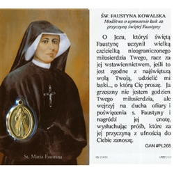 Saint Faustina Kowalska - Polish - Sw. Faustyna Kowalska Holy Card Plastic Coated. Picture is on the front, Polish text is on the back of the card.