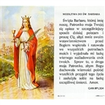 Saint Barbara - Sw. Barbara Holy Card.   Holy Card Plastic Coated. Picture is on the front, Polish text is on the back of the card.