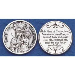 Our Lady of Czestochowa Pocket Token (Coin). This Miraculous Painting of the Mother of God was brought to Poland in 1384 by the Pauline Monks. Mary, Queen of Poland as she is revered has been the object of pilgrimages ever since.
