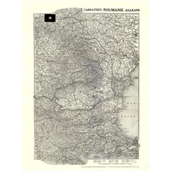 The Carpathians, Roumania and Part of the Balkans Map: 1916