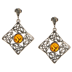 Celtic Eternity Knot Honey Amber Earings