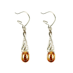 These Genuine Honey Baltic Amber earings are beautifully encased in a celtic Sterling Silver design.