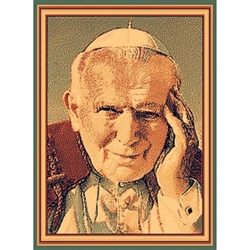 Beautiful machine made woven rug featuring John Paul II in prayer