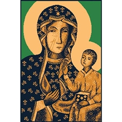 Beautiful machine made woven rug featuring Our Lady of Czestochowa Wall Hanging