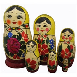 "This cute 6 piece nesting doll is from the village of Semyonov, and is featured in the popular children's book, The Littlest Matryoshka. Each of the pieces are brightly painted and cheerfully drawn. She stands almost 5"" tall."