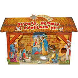 In Polish homes the szopka (creche)  is a central part of the Christmas season.  This is a large pop up thick glossy paper szopka with the Holy Family in Bethlehem.  Perfect for displaying on a mantle, a tabletop or under the tree.