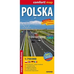 Poland deluxe laminated road map in 4 languages, Polish, English, French and German, contains a comprehensive index of towns and cities.  Laminate prevents this map from tearing of folding the wrong way.  Easily folds to the sections you require.