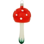 "Satin glazes and glitter details accent the reflective red cap of this delicious mushroom ornament. Crafted of glass in Poland, this mushroom ornament measures 4.25"" and will make a wonderful addition to your old-world themed ornament collection."