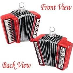 "Are you missing an accordion in your orchestra of musical theme ornaments? Artfully crafted from glass in Poland for an unbelievably real appearance, this 2"" tall accordion ornament with glistening silver accents"