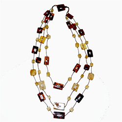 Multi-color rectangular beaded Necklace