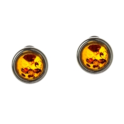 Small Amber and Sterling Silver Stud Earrings