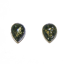 Small Green Amber Teardrop Stud Earrings