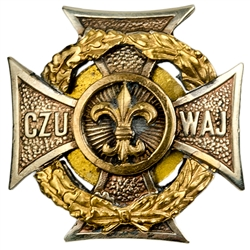 "Hand made in Warsaw by our master engraver this beautiful two tone metal badge is the emblem of the Polish Scouts with their motto, ""Czuwaj"" in Polish meaning ""Watch!"" or ""Be Prepared"""