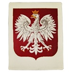 This is a large size rug perfect for hanging and is an exact copy of one hanging in the Polish Presidential Palace.  This Polish Eagle is the official coat of arms of the Republic Of Poland