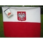 "Light weight fleece blanket size 50"" x 60"" features the Polish flag with the Eagle.  Please note that this is some minor bleeding of red onto the white side of the flag."