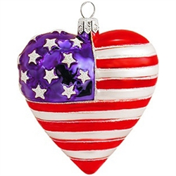 "Symbolizing the heart of a true patriot, this 3¼"" glass American flag ornament is crafted in Poland and will make a wonderful addition to your patriotic collection!"