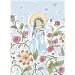 "Our Blessed Mother Note Card is an illustration from the popular children's book ""Lolek, The Boy Who Became Pope John Paul II"""