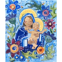 "Madonna and Child Note Card is an illustration from the popular children's book ""Lolek, The Boy Who Became Pope John Paul II"""
