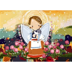 "Set of 10 Angel Note Cards that are illustrations from the popular children's book ""Lolek, The Boy Who Became Pope John Paul II"".  Note cards come in clear boxes of 10 cards and envelopes."