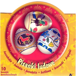 Polish Folk Design Egg Sleeves - Set of 10 Create instant Polish designed Pisanka using these brightly-colored sleeves representing different regions of Poland; representing: Kaszubskie, Lowickie, Huculskie, Batikowe, Kraszanki and Drapanki designs