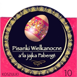 Polish Fabrege Design Egg Sleeves - Set of 10 Create instant Fabrege designed Pisanka using these brightly-colored sleeves representing different fabrege motifs. Each package contains 10 color sleeves.