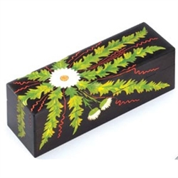 Carved Handpainted Mountain Flower Box  This beautiful wooden box is entirely deep carved and painted by hand.