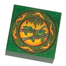 Jungle Frog Box. This square box features a Bryon Allen design with a frog design encircled by salamanders.
