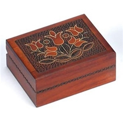 This beautiful box is made of seasoned Linden wood, from the Tatra Mountain region of Poland and a mushroom patch burned into the top.