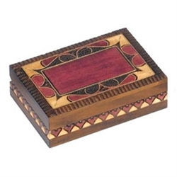 Dedication Box that could easily have an engraved plate added.  This box is decorated with a border pattern accented by metal inlay on the top and a band of hearts around the base.  Engraved plate not included.