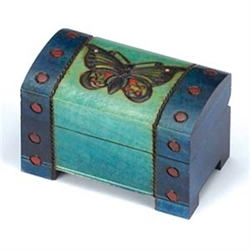 Butterfly Chest Box - Chest style box with a beautiful butterfly carved in to the top.