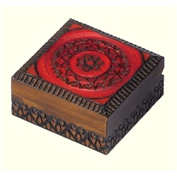 Polish Art Center - Circle Pattern Box that is deeply carved with a circular heart design and a red finish accent on the lid. It is a perfect size to hold a favorite ring, necklace or even a rosary!