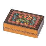 Polish Art Center - This box features a brightly colored floral design accented with metal inlay and set against a carved, burned texture background.
