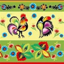 Polish Folk Motif Luncheon Napkins (package of 20) - Green  Three ply napkins with water based paints used in the printing process.