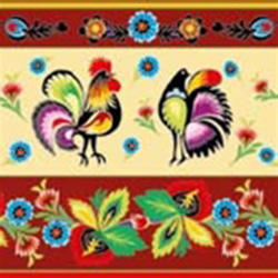 Polish Folk Motif Dinner Napkins (package of 20) - Dark Red Three ply napkins with water based paints used in the printing process.