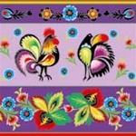 Polish Folk Motif Dinner Napkins (package of 20) - Purple.  Three ply napkins with water based paints used in the printing process.