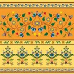 Polish Floral Folk Motif Dinner Napkins (package of 20) - Orange.  Three ply napkins with water based paints used in the printing process.