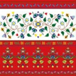 Polish Floral Folk Motif Dinner Napkins (package of 20) - Red.  Three ply napkins with water based paints used in the printing process.