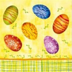 Easter Egg Dinner Napkins (package of 20).  Three ply napkins with water based paints used in the printing process.
