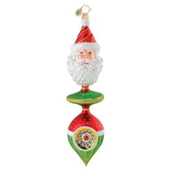 This ornament is simply stunning with the reflector bottom, the deep green middle and a curly bearded Santa on top.
