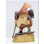 "The Polish gnome,""Skrzat"", have been popularized in Polish children's fairytales for many years. Authors Jan Brzecha and Maria Konopnicka immediately come to mind. This beautiful hand carved Grandfather Gnome is on his way back home from gathering kindlin"