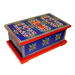 These beautiful hand painted boxes are replicas of larger chests that were used to store pillows. blankets, clothes etc. in the homes of villagers from the Krakow region.   This chest is a piggy bank with a slot in the top.