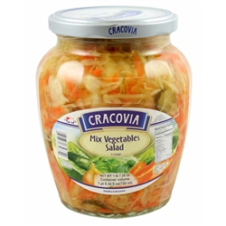 This perfect Polish side dish is a mxture of cabbage, carrots, cucumbers in brine, onions, salt, vinegar, sugar and spices.  A really tasty salad just like they serve in Poland.  Serve chilled.