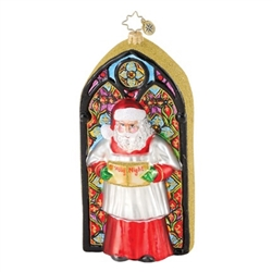Santa stands in front of this beautiful stained glass window replica.  Both front and back are painted as stained glass.  Initialed on the bottom with CR.